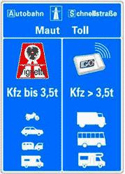 знак платной дороги в Австрии