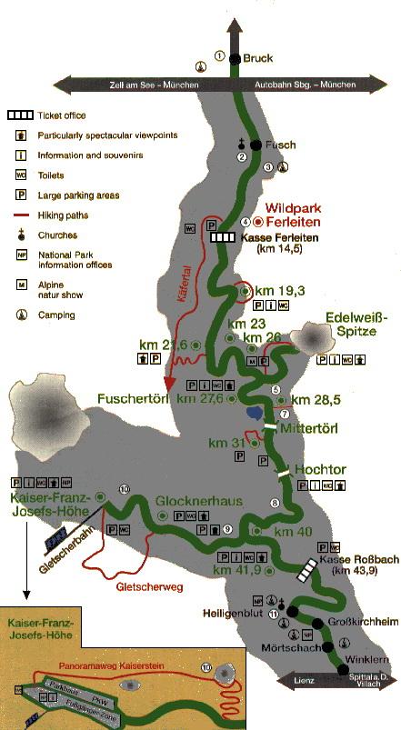 карта высокогорной дороги гросглокнер