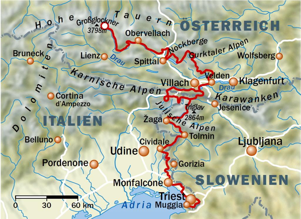 карта альпийско адриатический пеший маршрут