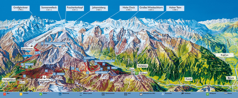 карта маршрута гросглокнер австрия
