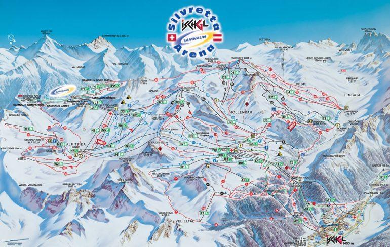 Карта (схема) трасс горнолыжного курорта Ишгль