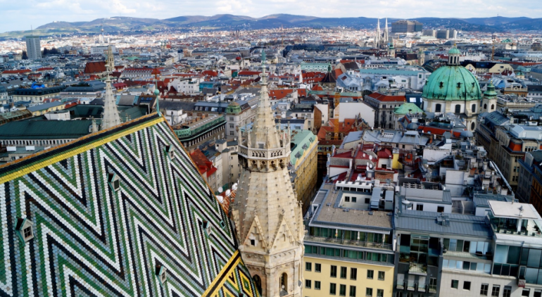 Штпефансдом вид на Вену сверху