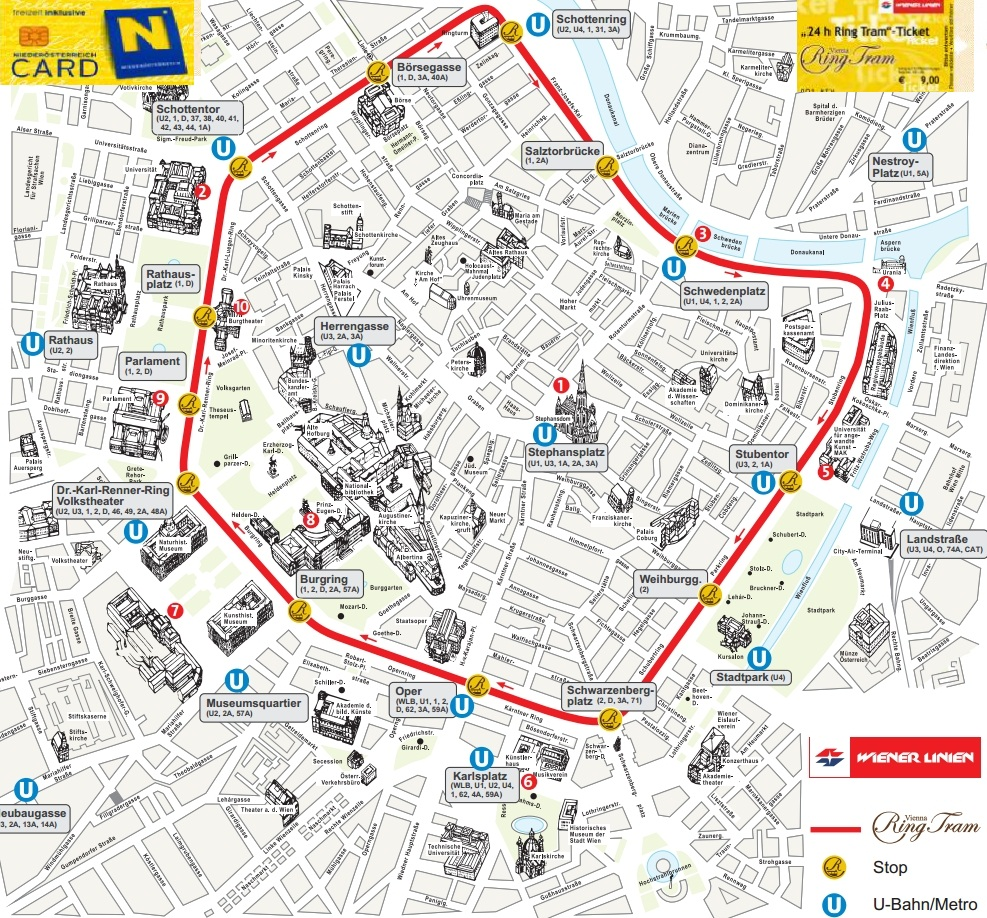 карта маршрута обзорного трамвая в Вене